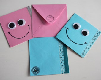 2 Happy Mail Cards with googly eyes