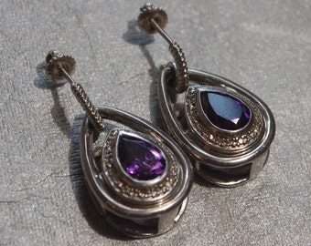 Large Pear Shaped Amethyst Earrings with Diamond Accents Set in Sterling Silver