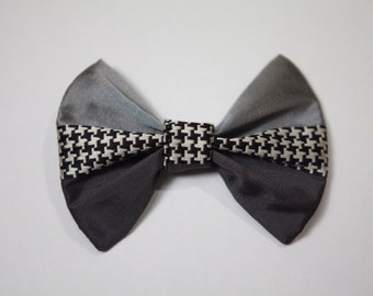 Houndstooth Grey-scale 100% Silk BOW