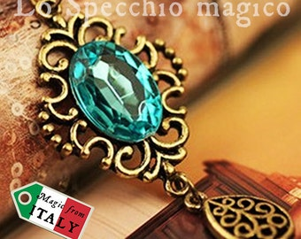 Bronzed necklace in Victorian Gothic style with unique blue and final ciondolino mobile