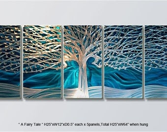 "Modern Handmade Metal Wall Art Original Abstract Large Blue Silver Indoor-Outdoor Decor From Artist ""A Fairy Tale"""