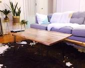 Reclaimed Oak Wood Coffee Table with Steel Hairpin Legs - Custom Built