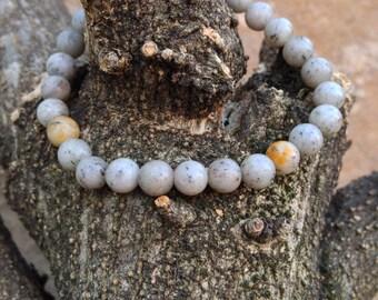 Grey Feldspar Gemstone Beaded Bracelet