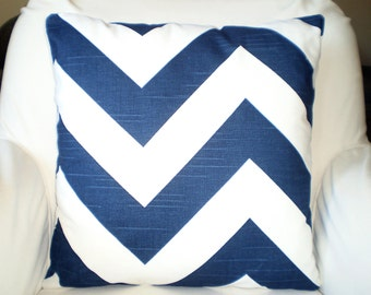 Navy Blue Chevron Pillows, Decorative Throw Pillows, Cushion Covers, Throw Pillow, Couch Pillows, Zippy, Pillow, One or More All Sizes