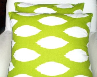 Green Pillow Covers, Decorative Pillows, Cushion Covers, Throw Pillow, Pillows for Couch, Decorative Pillow, Chaz Ikat One or More All Sizes