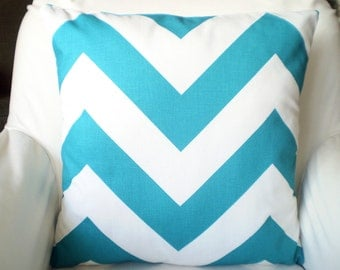 Turquoise Chevron Pillows, Decorative Throw Pillows, Cushion Covers, True Turquoise White Zig Zag Zippy, Aqua, Couch, One or More All Sizes