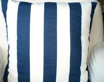 Navy Blue White Stripe Pillow Covers, Decorative Throw Pillows, Cushions, Nautical Throw Pillow, Beach Decor, Patio, One or More All Sizes
