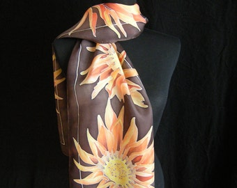 Hand Pinated Silk Scarf Orange Sunflower