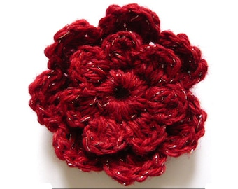 Crochet Flower Brooch/Corsage Red/Silver 6cm