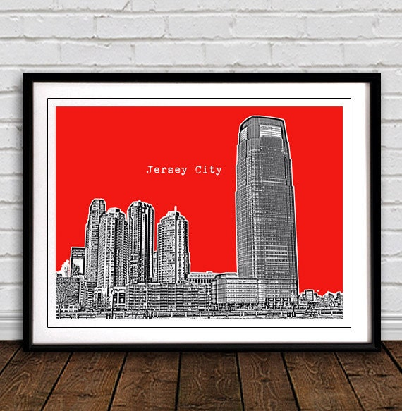 Jersey City Skyline Art Print City Poster Great Gift For