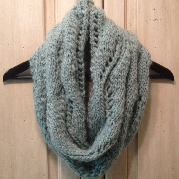 Knitting Pattern Lace Infinity Scarf : Chevron Lace Pattern Chunky Knit Infinity Scarf by ...