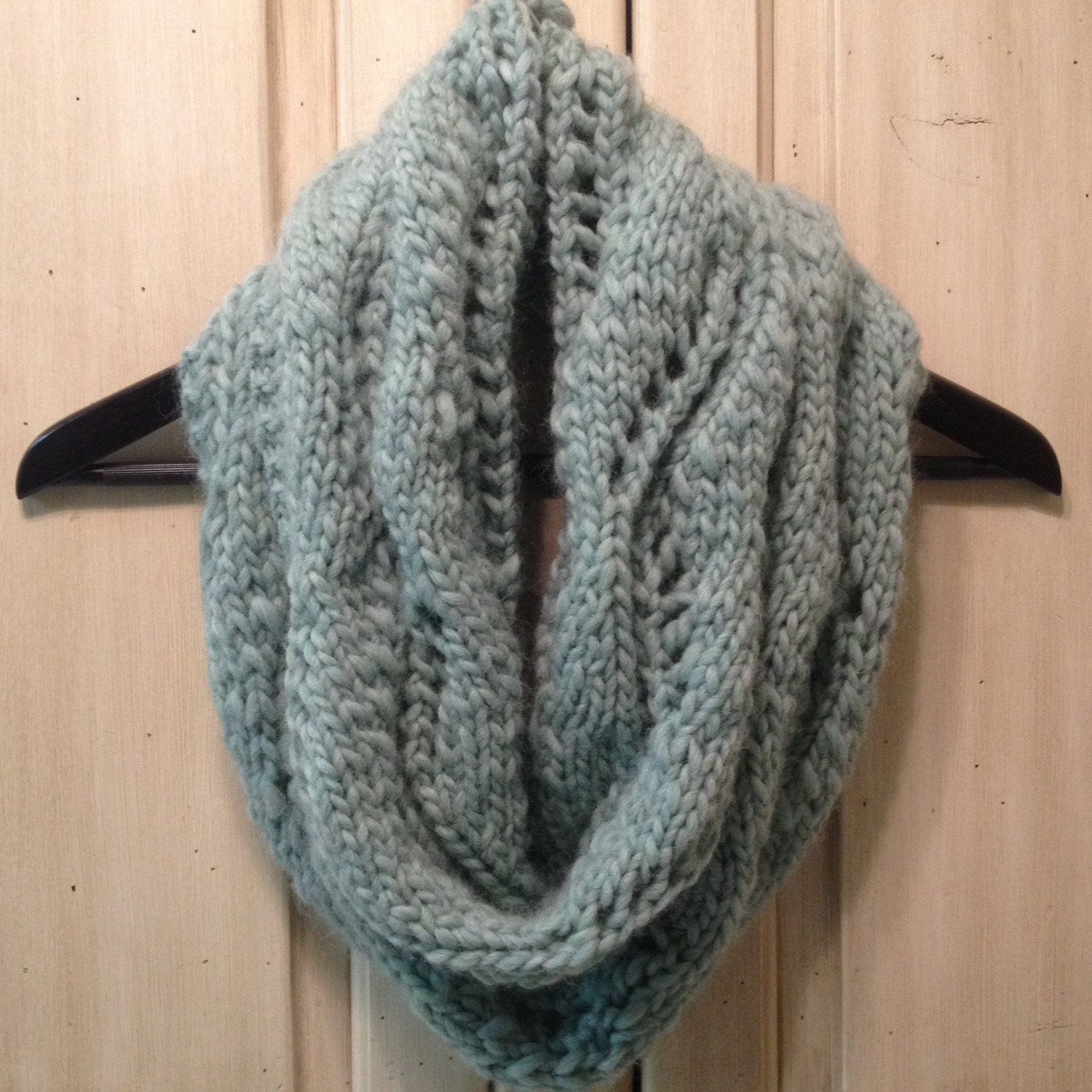 Chevron Lace Pattern Chunky Knit Infinity Scarf by EllieDeeDesigns