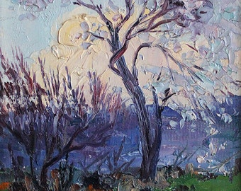 Oil Painting of Tree in Dusk by Felix Hakobyan