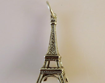 Sterling Silver 3-D EIFFEL TOWER Charm Pendant Paris France .925 Sterling Silver New tr01
