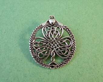 Sterling Silver CELTIC KNOT Three Leaf CLOVER with Small Claddagh Pendant Luck Irish .925 Sterling Silver New cc10
