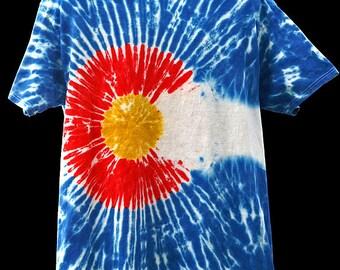 Tie Dye Colorado Flag Shirt - Short Sleeve