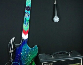 Decorative guitar wall art. rock and roll painting, party decor