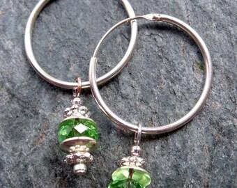 Swarovski crystal and Sterling silver 'sleeper' hoop earrings