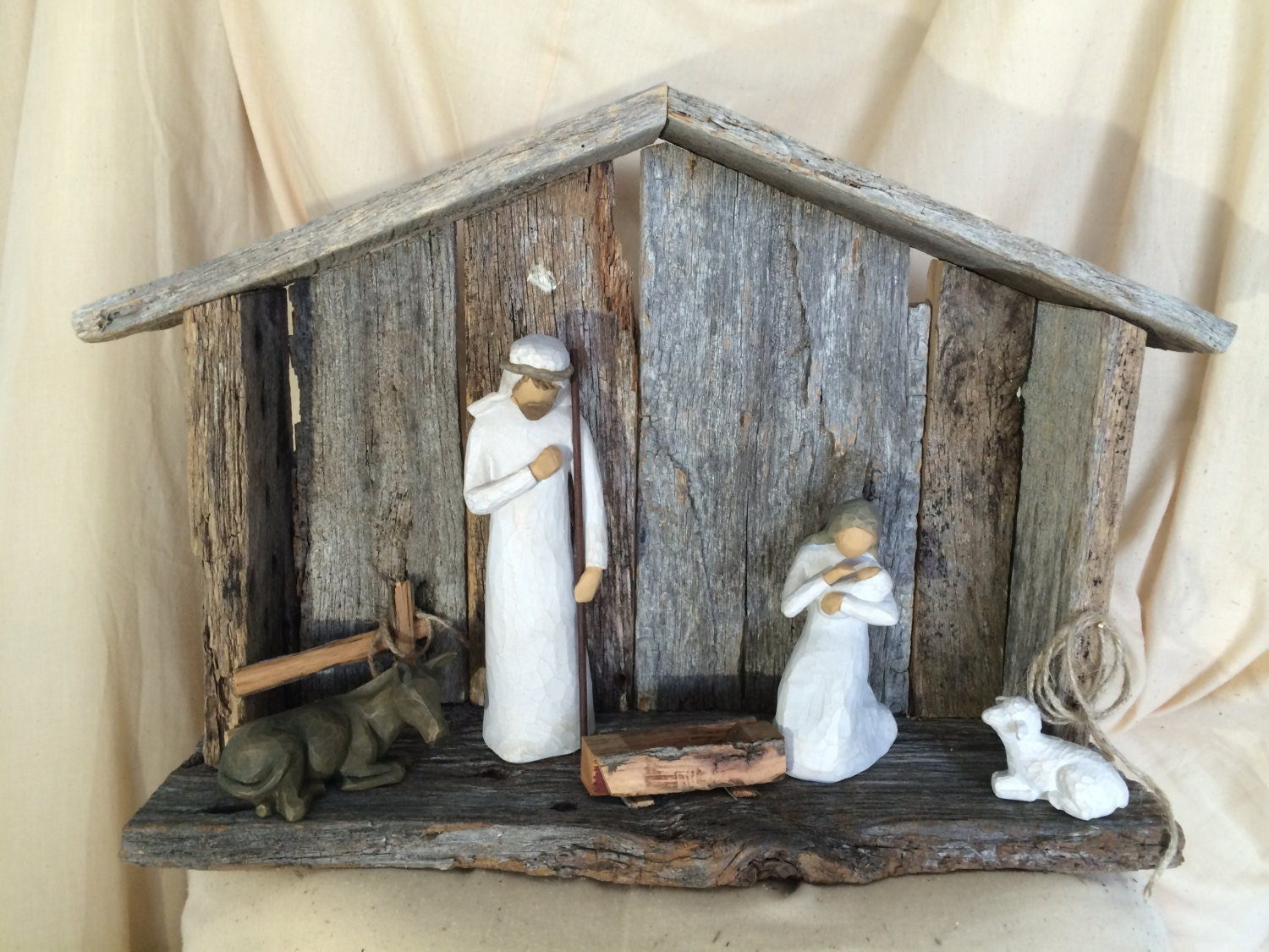 Hand Crafted Nativity Stable Made From 100 Year Old Barn Wood