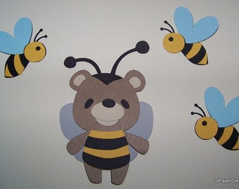 Bear with bee suit & bees die cuts