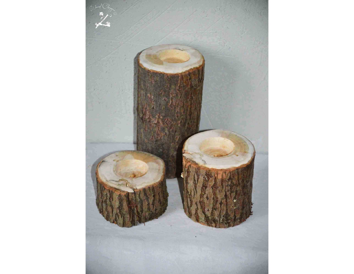 Large Wooden Candle Holder Rustic Wedding Honor Candle