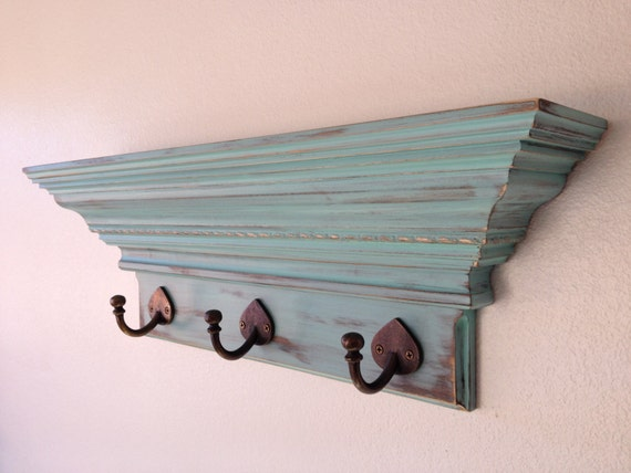 Decorative Wall Shelf With Hooks Mantle Rack : Items similar to quot shabby chic wall shelf with hooks