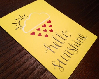 "Modern Calligraphy Note Card // ""Hello Sunshine"" // 4.25 x 5.5 Handwritten, Yellow Card with Envelope"