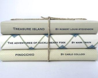 Children's vintage adventure books - Neutral children's books - decorative books - custom book jackets -  boy books - nursery decor