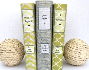 Vintage books - decorative books - green books - custom book covers - bookshelf decor - custom book jackets - personalized gift - twine book