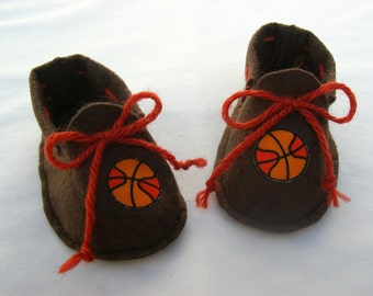 Sale on Basketball Booties!  Brown felt baby booties for your up-and-coming All Star!