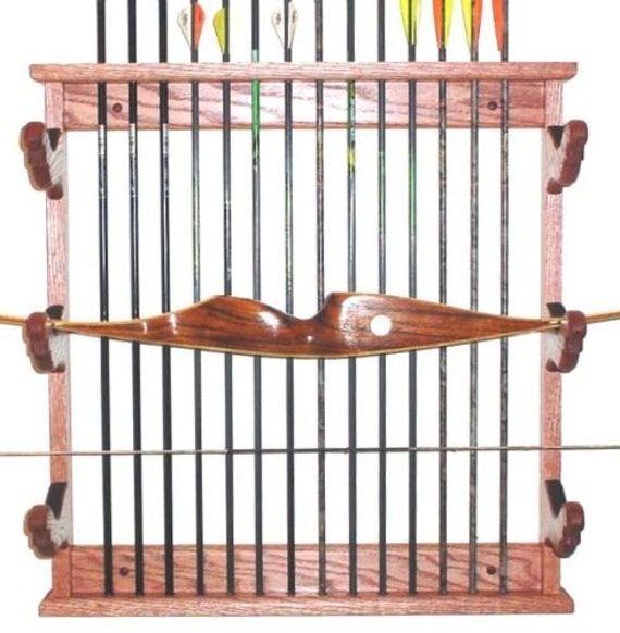 Wooden Bow Amp Arrows Rack Archery Wall Display By