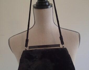 Vintage Black Velvet Evening Bag.