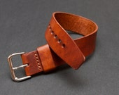 Natural Horween Dublin Leather One Piece Watch Strap, Handmade to Order