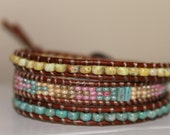 Leather Wrap bracelet, 3 layer beautiful colors, glass beads