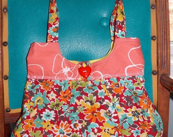 Colorful handcrafted medium handbag, fully lined, premium cotton fabric, hippie boho chic, hobo style, mod vintage style