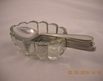 Glass SPOON HOLDER VINTAGE-Heavy Rib