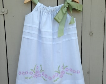 Toddler embroidered pillowcase dress