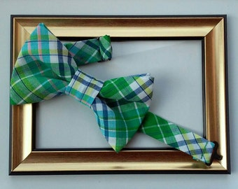 Green, Navy and White Plaid Pre-Tied Bow Tie