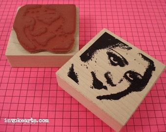 Milena Face Stamp / Invoke Arts Collage Rubber Stamps