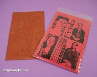 Frida Portraits / Invoke Arts Collage Rubber Stamps / Unmounted Stamp Set