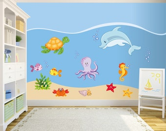 Baby Wall Decal Nursery Sea Wall Decal kids Wall Stickers Baby Nursery Decor Children Wall Decal The Marine World