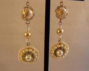 Romantic Lacy Pearl Earrings