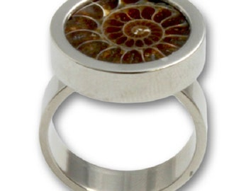 Ammonite Ring Nautilus Fossil in Surgical Steel 316L