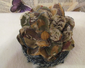 Handmade Up-Cycled Denim and Lace Shabby Chic Flower Pin, Browns