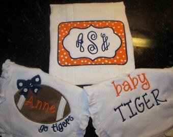 Auburn Burp Cloth and Bib set