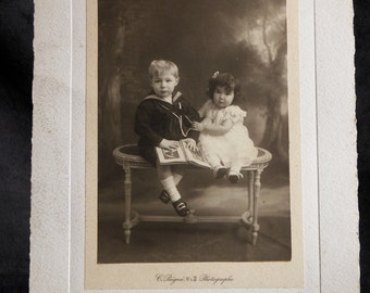 Old photograph of two young children by Constant comb workshop photographer (1834-1916) | France