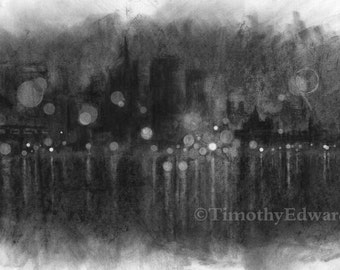 Rain in the City #3, Giclee Print