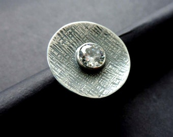 Sterling Silver ring White ,zircon/Oxidized ring,adjustable,modern,Adjustable ring /For women