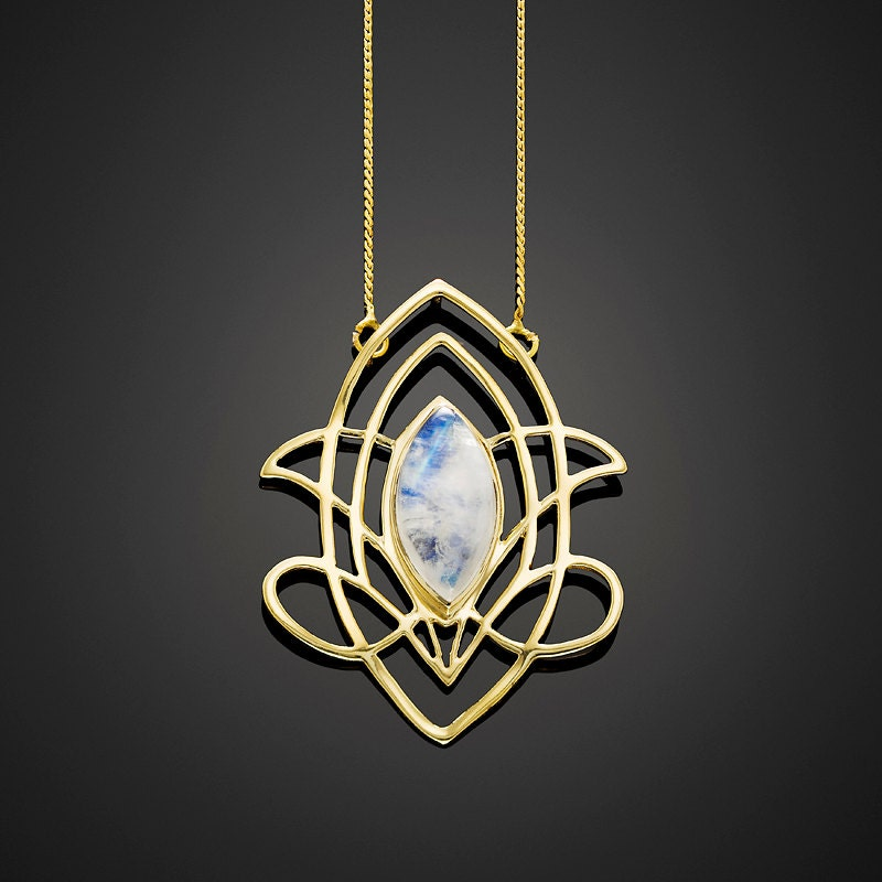 Celtic Moonstone Pendant Necklace In 18K Gold Plated Brass
