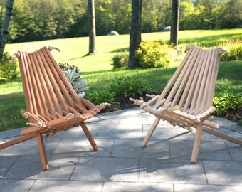 2 Mahagany Blend Chairs/Deck/Patio/Chair/Wood/Folding/Storage/Kentucky Stick Chair/Sitting/Low Back/Rope/Wooden/Belize/Adirondack/Outdoor